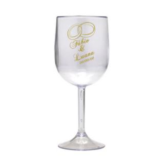 Taça Personalizada de Vinho Casamento 01 Acrilico