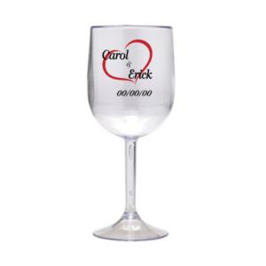 Taça Personalizada de Vinho Casamento 02 Acrilico