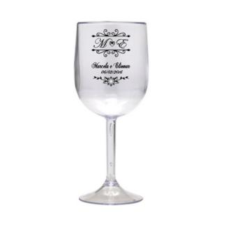 Taça Personalizada de Vinho Casamento 03 Acrilico